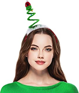 Lux Accessories Red Green White Fabric Headband Holiday Xmas Tree Coil Headband