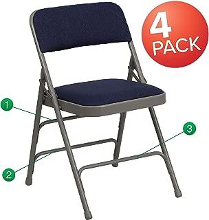Flash Furniture 4 Pk. HERCULES Series Curved Triple Braced & Double Hinged Navy Fabric Metal Folding Chair -