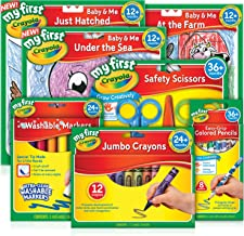 Crayola, Young Artist Pack, My First, Toddler, Junior, Includes 12 Crayons, 8 Pencils, 8 Markers, 3 Different Scissors and 3 Colouring Books with Stickers - Perfect Educational Toy Gift