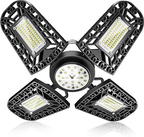 Éclairage de garage à LED,80W 6000K 11200Lm 216LED Lampe d'atelier déformable à 4 panneaux ajustables, Plafonnier LED...