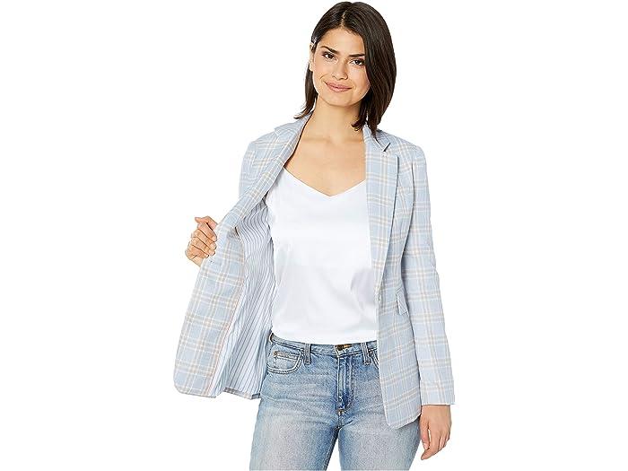 1.state Woodland Plaid One-button Blazer Light Heher Grey Cos & Outerwear