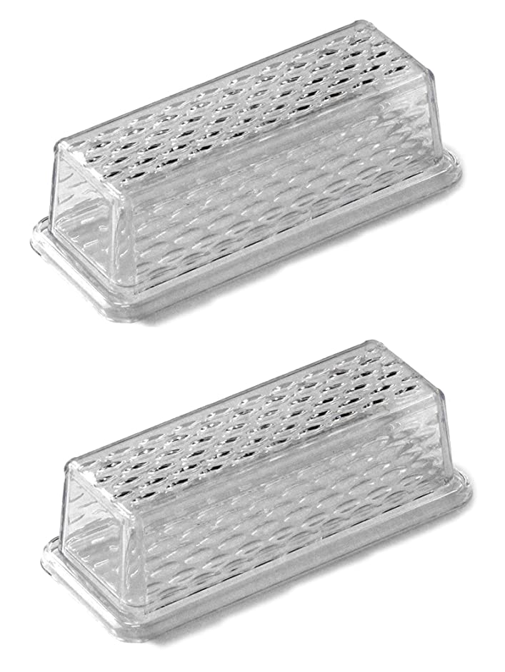 Chef Craft 21458-2PK Clear Plastic Butter Dish with Crystalline Design Cover | 6.75