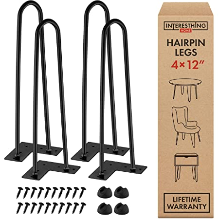 12 Inch Hairpin Legs – 4 Easy to Install Metal Legs for Furniture – Mid-Century Modern Legs for Coffee and End Tables, Chairs, Home DIY Projects + Bonus Rubber Floor Protectors by INTERESTHING Home