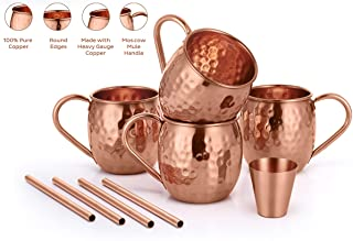 AVADOR Set of 4 Handcrafted 100% Pure Copper Moscow Mule Mugs Hammered Finish 16 Oz. Gift Set Boxed with Shot Glass and Co...