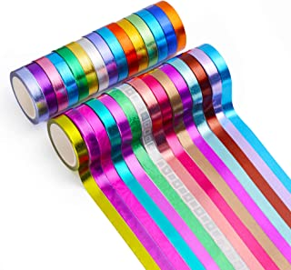 30 Rolls Washi Tape,Multi-Colored & Gold Metallic Washi Masking Tape - 8mm x 4m Rainbow Paper Tape for DIY Crafts (Mix)