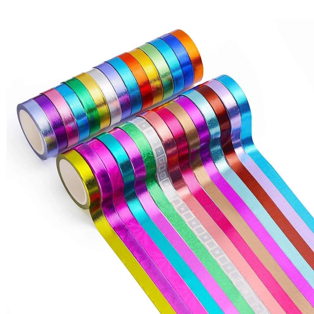 30 Rolls Washi Tape,Multi-Colored & Gold Metallic Washi Masking Tape - 8mm x 4m Rainbow Paper Tape for DIY Crafts (Mix)