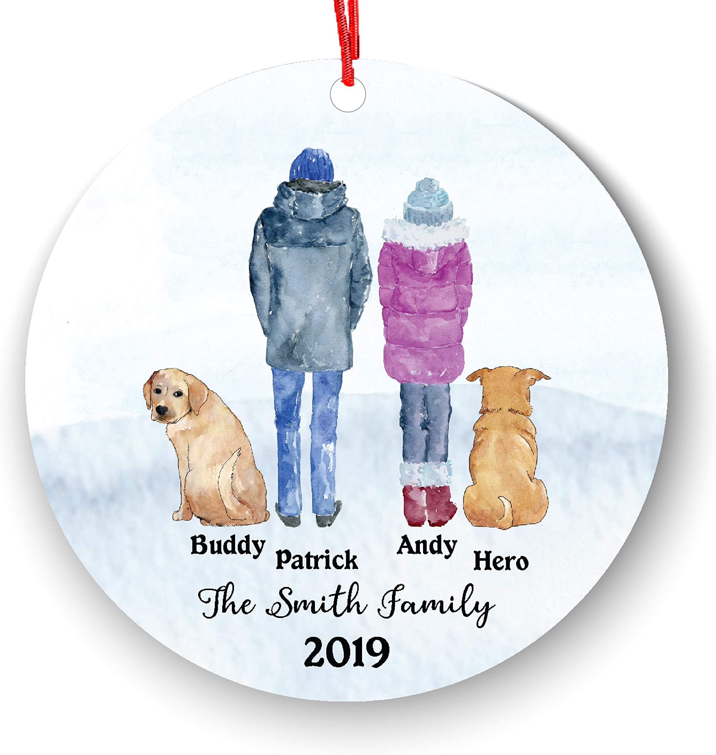 Personalized Couple Family with Pet Dog Cat Owner Christmas Ornament Parents Pet Lover Gifts Custom Portrait Fur Mom Dad with Beautiful Snow Scene (Couple with pet)