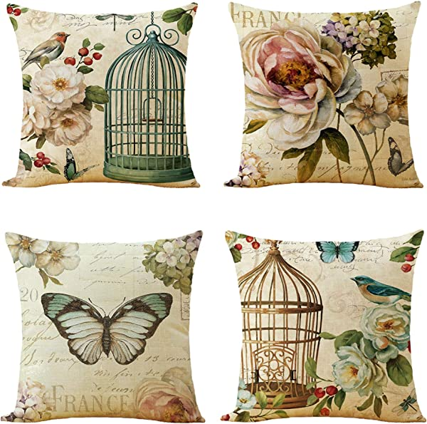 WOMHOPE Set Of 4 Throw Pillow Covers Bird On The Tree Accent Countryside Decorative Burlap Toss Pillowcases Square Cushion Cases 18 X 18 Inch For Living Room Couch Bed Bird Cage Set Of 4 Pcs