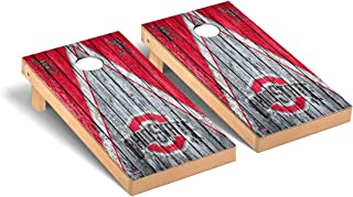 Victory Tailgate Regulation Collegiate NCAA Weathered Triangle Series Cornhole Board Set - 2 Boards, 8 Bags - 600+ Teams Available