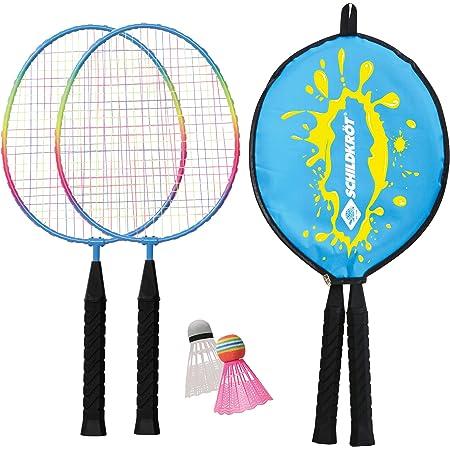 Schildkröt Funsports, Schildkröt Junior Badminton Set, 2 Racchette accorciate 45,5 cm, 2 volani, in Una Copertura 3/4, 970901 Unisex-Adulto, Multicolore, S