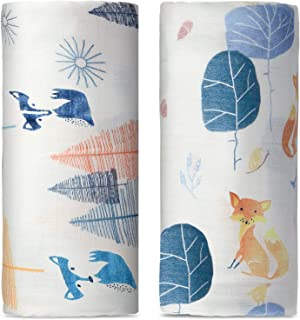 Baby Swaddle Blanket Unisex, Super Soft Bamboo Cotton Muslin Swaddle Blankets Swaddle Wrap Neutral, Large Newborn Receiving Blankets for Boys and Girls, 47 x 47 inches, Set of 2