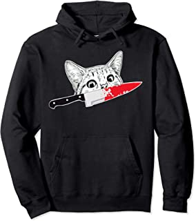 Peeking Murderous cat funny Murderous Cat with knife Pullover Hoodie