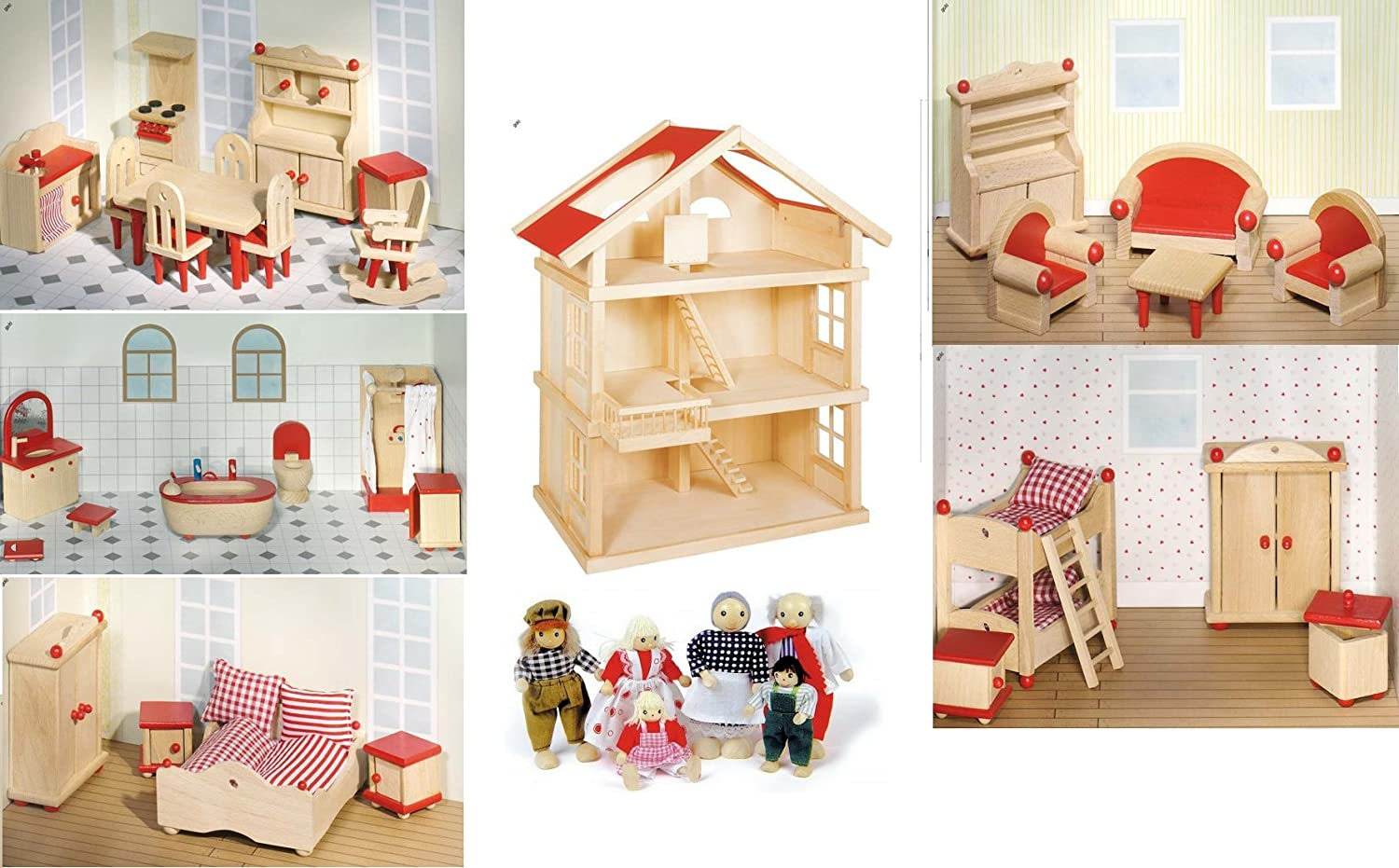 Wooden Dolls House, complete with furniture for 5 rooms