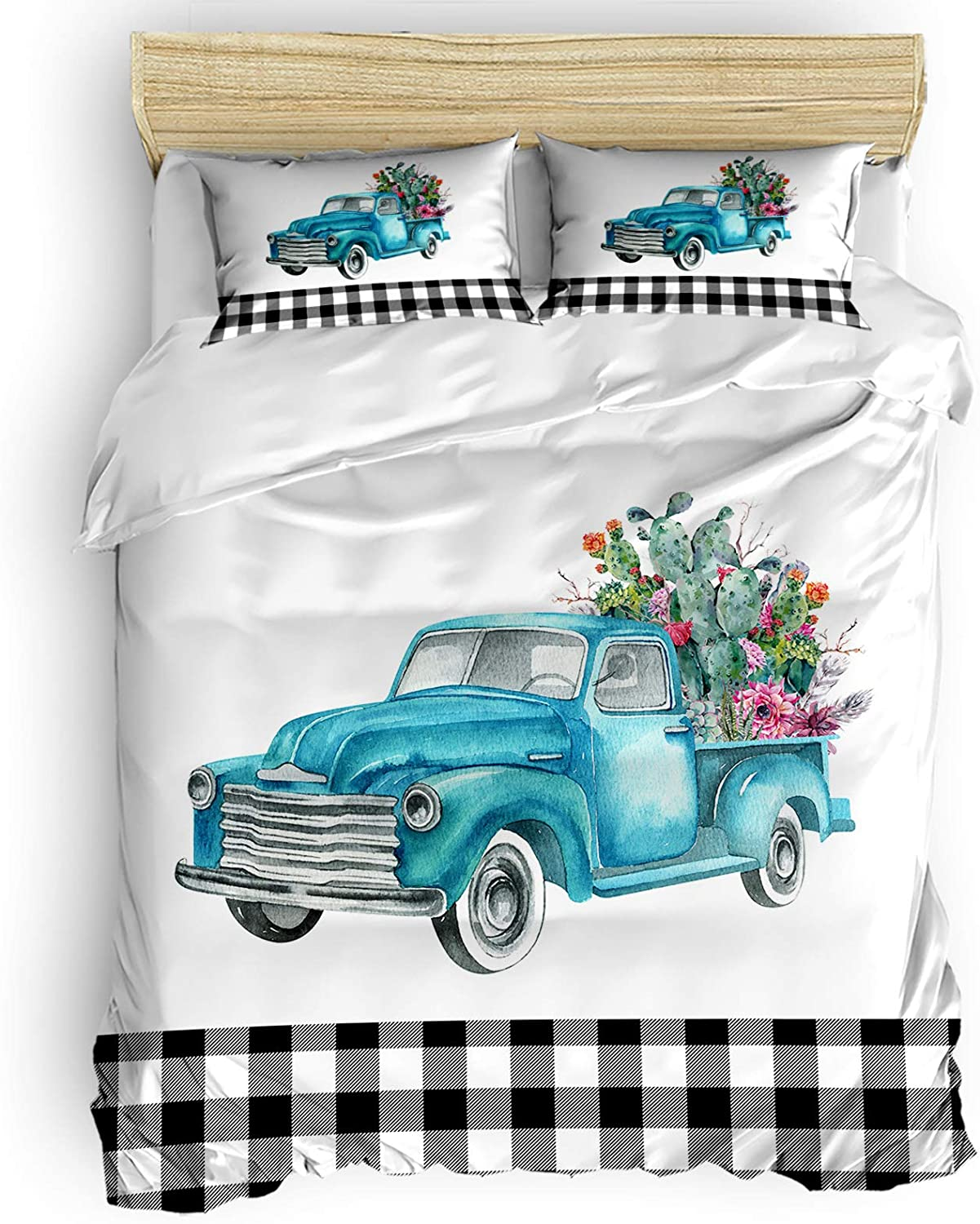 4 Pcs Duvet Cover Set Inventory cleanup selling sale Topics on TV Soft Duve Closure Bedding Zipper with