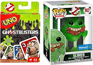 747 Ghostbusters POP! Movies:GB Slimer w/Hot Dogs (Translucent) Exclusive Vinyl Figure & Bundled with Pack Ghostbusters Theme UNO Edition Card Game Fun 2 Items