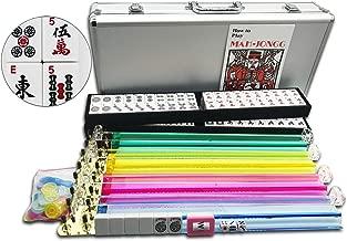 Mose Cafolo~ American Mahjong Set Complete Western Mah Jongg Sets 166 Tiles Plus 4 Pushers and 4 Racks in Heavy Duty Silver Aluminum Case (Mah Jong Mahjongg Set)