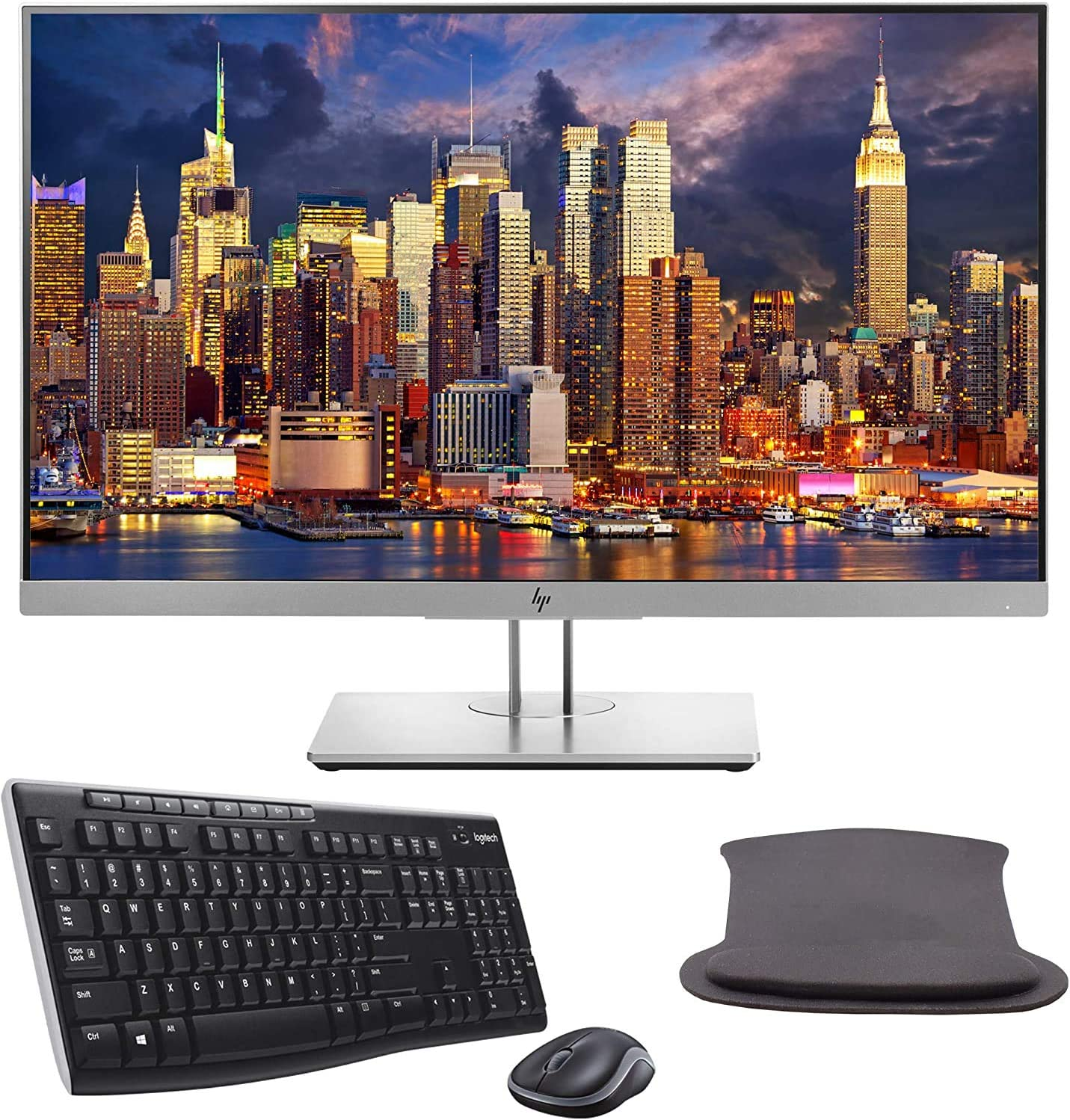 HP EliteDisplay E243 24 Inch 1920 x 1080 (1FH47A8) Full HD IPS LED-Backlit LCD Monitor Bundle with HDMI, VGA, DisplayPort, Gel Mouse Pad, and MK270 Wireless Keyboard and Mouse Combo