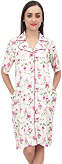 Bimba Floral Printed Short Sleeve Sleepshirt Women Nightwear with Pockets