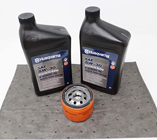 wholesale Husqvarna Oil Change Kit w/Oil pad and online sale 5W-30 Synthetic Blend Oil for new arrival Briggs Engine online sale