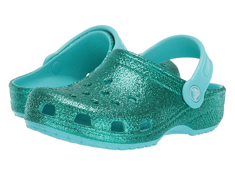 Crocs Kids Classic Glitter Clog (Toddler/Little Kid) (Mermaid Pool Glitter) Kids Shoes