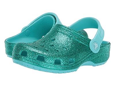 Crocs Kids Classic Glitter Clog (Toddler/Little Kid) (Mermaid Pool Glitter) Girls Shoes