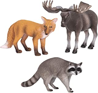 Terra and B Toys Animal Collectible Figures - Moose, Racoon and Fox, multi color