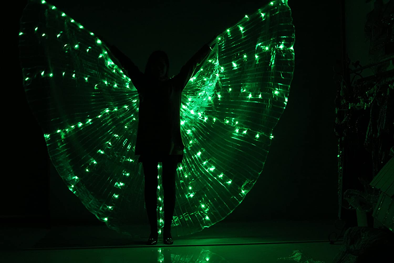 Tofern 360 Degrees Luminous LED Pageant Halloween Party Belly Dance Cosplay Isis Wings with Telescopic Sticks