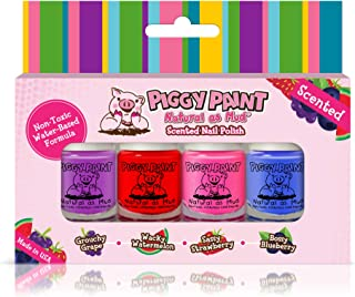 Piggy Paint 100% Non-Toxic Girls Nail Polish - Safe, Chemical Free Low Odor for Kids, Scented 4 Polish Set - Stocking Stuf...