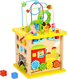 Pidoko Kids Wooden Activity Cube - Fun Forest Theme for Toddlers Boys and Girls