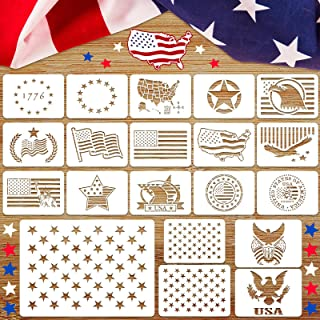 20 Pieces American Flag Stencil Stars Flag Reusable Template for Painting on Wood, Fabric, Paper, Airbrush, Walls Art
