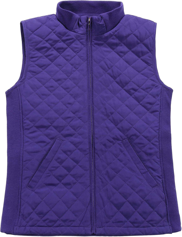 Bienzoe Women Casual Zip Quilted Sleeveless Light weight Vest St