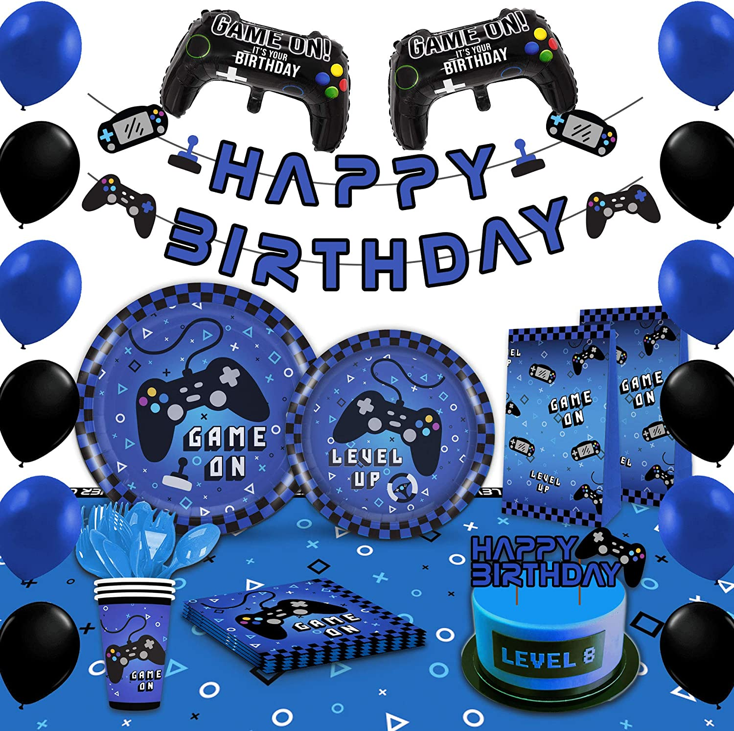 Blue Long Beach Mall Spring new work Video Game Party Supplies For Gaming Decoration Boy -