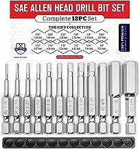 Allen Wrench Drill Bit Set (PREMIUM 12pc COMPLETE SAE SET) /w Storage Case and Bit Holder..