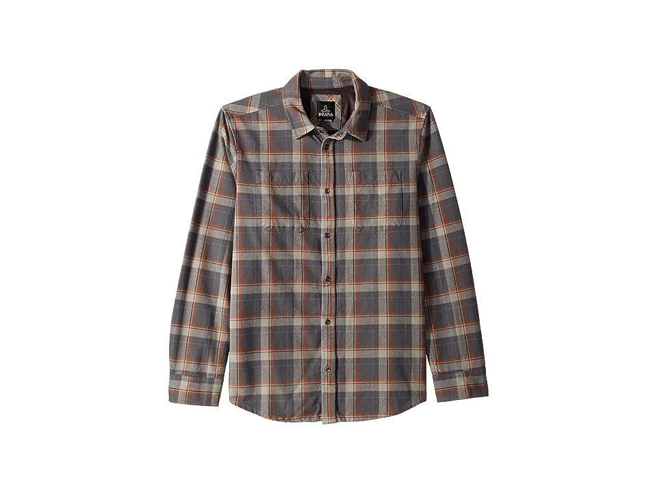 Prana Brayden Long Sleeve Flannel Shirt (Coal) Men