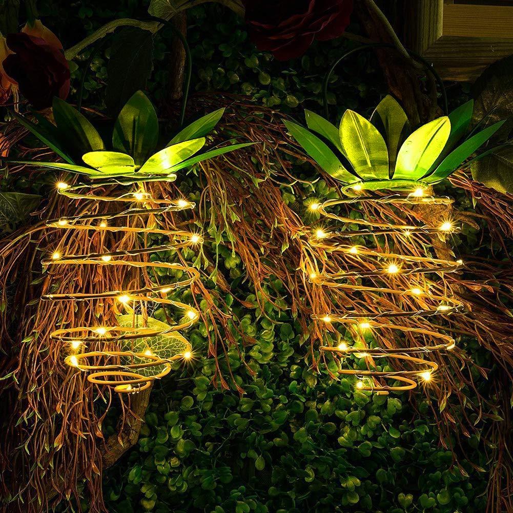WENKEN - Farol solar colgante de piña para exteriores, 25 luces LED, impermeables, para jardín, patio, césped, balcón, camino: Amazon.es: Hogar