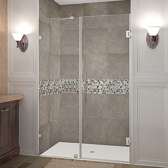 Aston Nautis Completely Frameless Hinged Shower Door 71 X 72 Brushed Stainless Steel Amazon Com