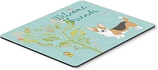 Caroline's Treasures BB7610MP Welcome Friends Pembroke Welsh Corgi Tricolor Mouse Pad, Hot Pad or Trivet, Large, Multicolor
