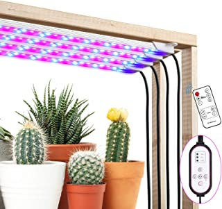 Amzdest Grow Light Strip, 40W 192LED Plant Light with Remote Controller, 4/8/12H Timer Auto ON/Off, 10 Dimmable Levels& 3 Spectral Modes, Grow Lights for Indoor Plants Full Spectrum with 9.45ft Cord