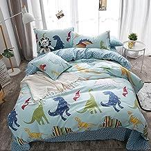 Lausonhouse 100% Cotton Dinosaur Print Duvet Cover Set for Kids Bedding - Twin/Full, Cotton, Multi, Full
