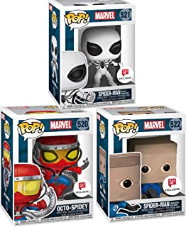 Spidey Set Future Foundation White Suit + Spider-Man Paper Bag (Bombastic Bag-Man) Exclusive Pop! Marvel Bundled with Octo-Spidey Limited Vinyl Character Figure 3 Items