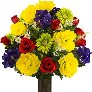 Sympathy Silks Artificial Cemetery Flowers – Realistic Vibrant Daisies, Outdoor Grave Decorations - Non-Bleed Colors, and Easy Fit - Purple Red Yellow Peony Daisy Bouquet with Flower Holder