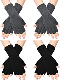 4 Pairs Unisex Half Finger Gloves Winter Stretchy Knit Fingerless Typing Gloves