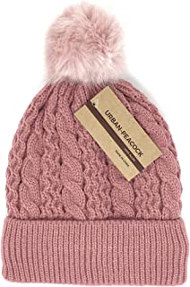 Urban-Peacock Trendy Chunky Soft Stretch Cable Knit Beanie Hat Warm Fleece Lining & Pom Pom