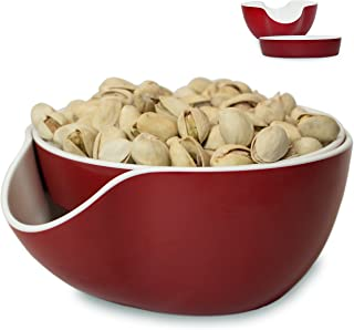 Pistachio Bowl, Snack Serving Dish, Double Peanut Bowl with Seeds Shell Storage, Red