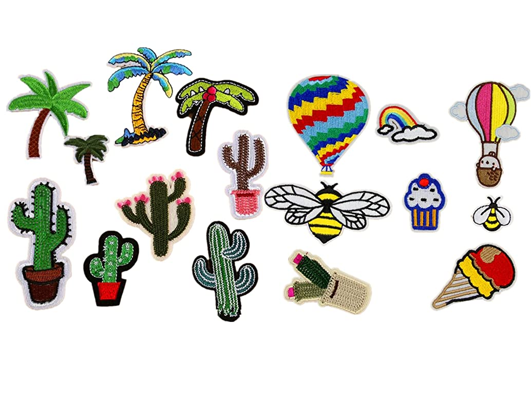 17pcs Coconut Tree Cactus Hot Air Balloon Bees Dessert Embroidered Tropical Hawaii Patches Sew Iron on Appliques Motif