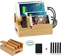 Bamboo Desktop Charger Station Coeuspow Wood Multi-Device Charging Station Handmade & Eco-Friendly Dock Compatible for Apple Watch iPhone iPad Smartphone and Tablets,Handmade & Eco-Friendly