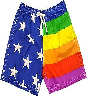 Licensed-Mart Men's Patriotic American USA Flag Shorts Swim Run Trunks