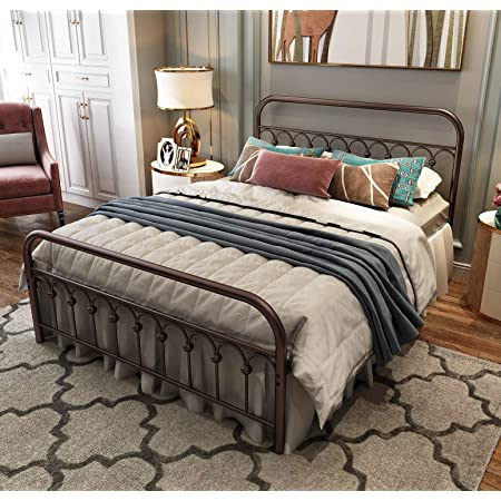 Metal Bed Frame Twin Size with Vintage Headboard and Footboard Platform Base Wrought Iron Double Bed Frame Antique Brown Twin, Antique Brown