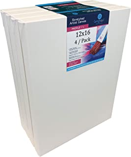 """North American Made Artist Canvas (4 / Pack) On 1 ½"""" Stretcher Bars, Double Primed with Acrylic Gesso 15 oz, Suitable for Oil, Acrylic Paints & Mixed Media Applications, Back Stapled (12"""