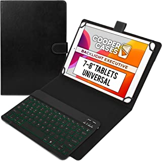 """Cooper Backlight Executive Keyboard Case for 7, 7.9, 8"""" Tablets   Universal 2-in-1 Bluetooth Keyboard & Leather Folio, 7 C..."""